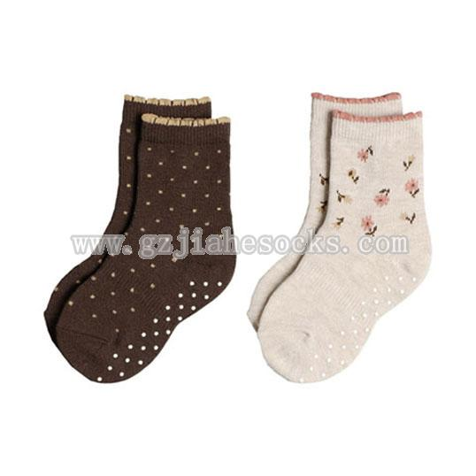 Jacquard Cotton Baby Socks With Silicon Dots On The Bottom